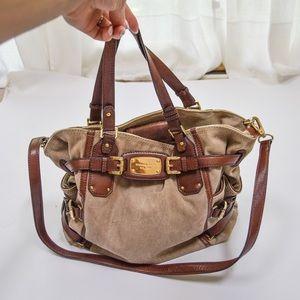 Michael Kors Tan Canvas Brown Leather Purse